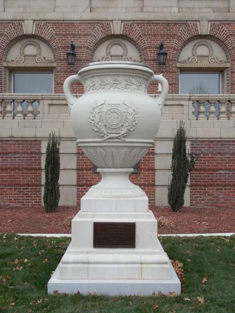 3.3.2 United Spanish War Veterans Memorial, 1933, CT VA Hospital. Overview of glazed terra cotta monument after treatment.