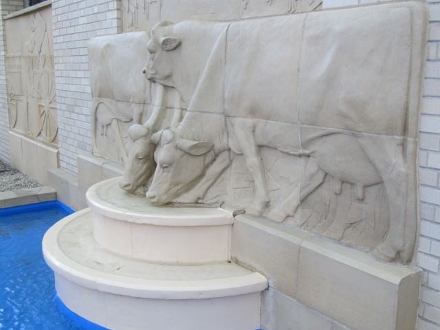 3.3.5 History of Dairying, Cow Fountain,  Christian Petersen, 1936, University Museums, Iowa State University, Ames. Terra cotta Cow Fountain after treatment.