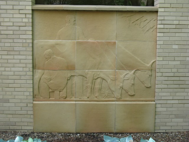 3.3.6 History of Dairying, Christian Petersen, 1936, University Museums, Iowa State University, Ames.  Terra cotta panel 1 after treatment.