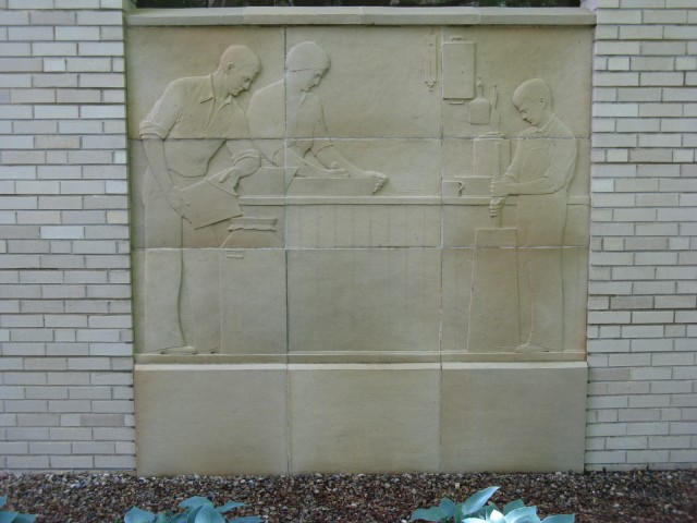 3.3.7 History of Dairying, Christian Petersen, 1936, University Museums, Iowa State University, Ames. Terra cotta panel 2 after  treatment.