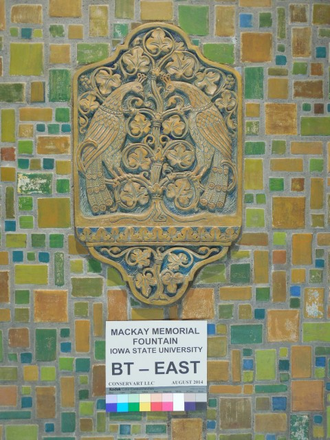 3.3.9 MacKay Memorial Fountain, Batchelder Tile, 1926, Iowa State University, Ames. Detail before treatment.