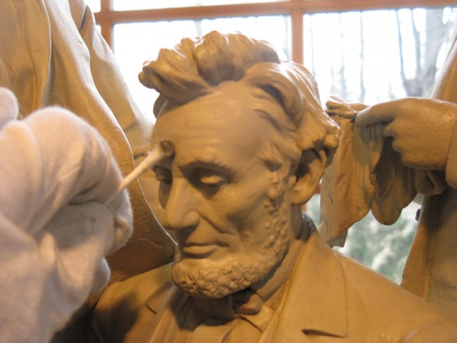 3.4.15 The Council of War, John, Rogers, 19th Century, New Canaan Historical Society, CT. Detail of Lincoln's head during cleaning.