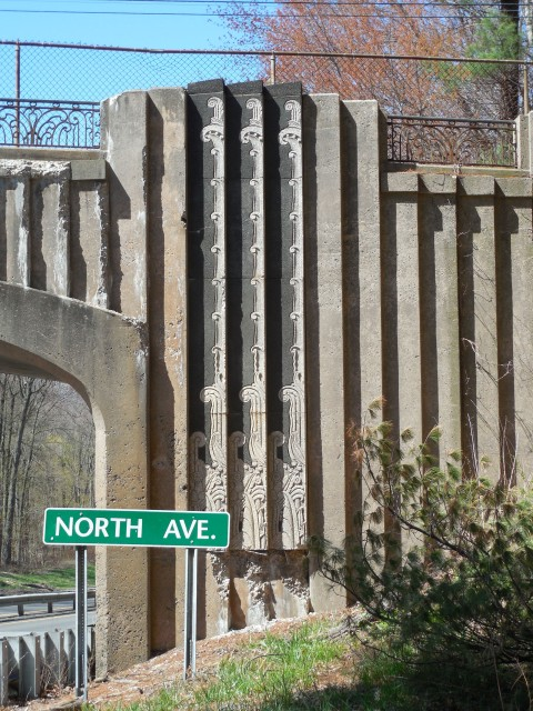 3.5.16 North Avenue Bridge, 1939, Merritt Parkway, CT. View of the cast stone ornamentation on historic bridge.