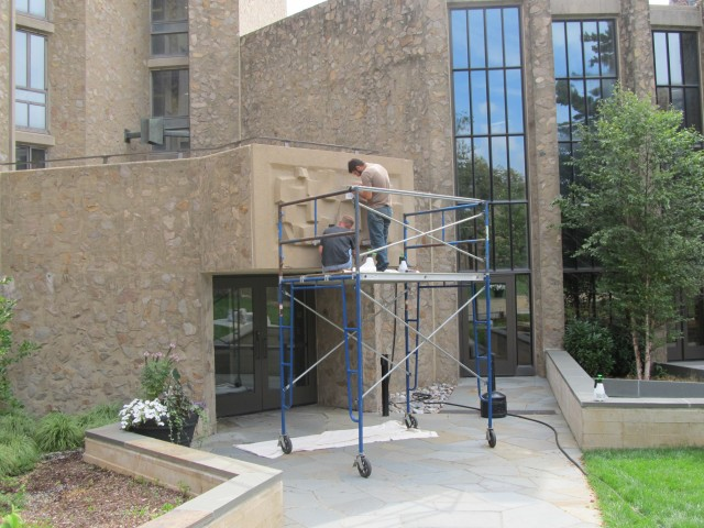 3.5.4 Costantino Nivola, 1962, Stiles College, Yale University.  Sculptures in Saarinen courtyard during treatment.
