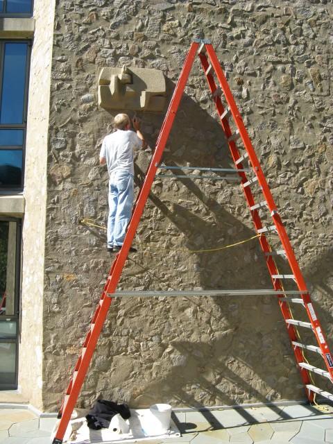 3.5.5 Costantino Nivola, 1962, Morse College, Yale University.  Sculptures in Saarinen courtyard during treatment.