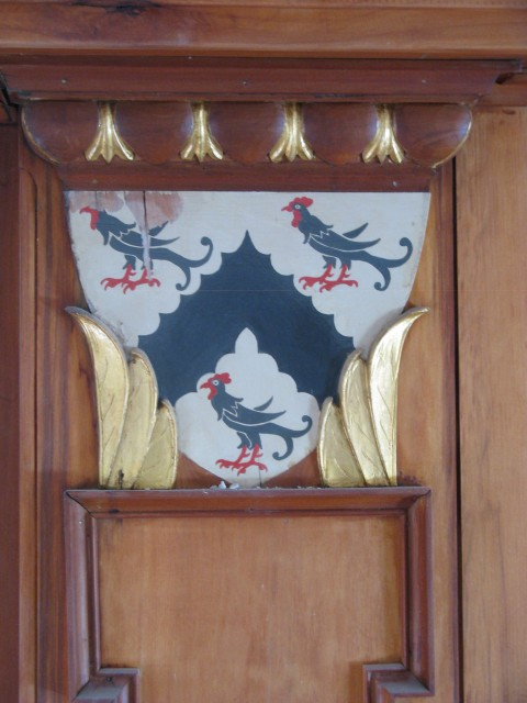 3.6.5  Crest, St. Thomas More Chapel, Yale University.  Painted and gilt wood after treatment.