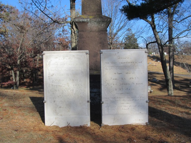 4.1.0 Mary Rider Marker, 1845, Wooster Cemetery, Danbury, CT. Thin marble marker with stainless structural support.