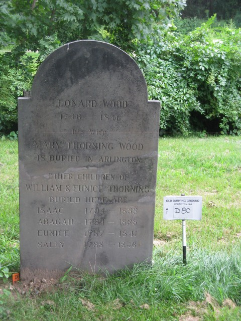 4.1.10.3 Leon Wood Family, 1841, sandstone, Olde Burying Ground, Lexington, MA.  Sandstone marker after treatment.