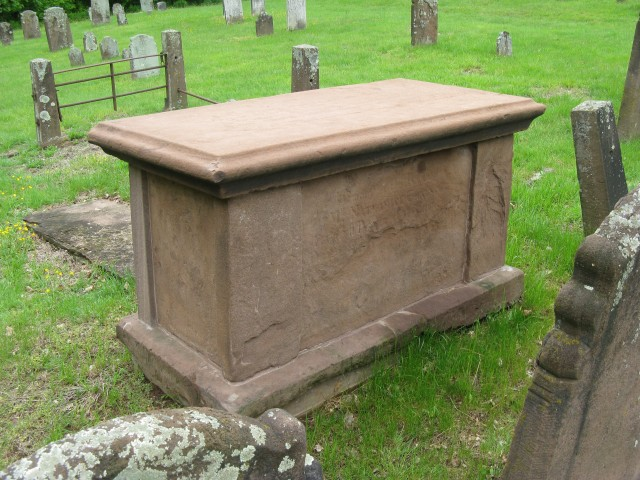 4.1.12 Rev. Chauncey Crypt, 1756, CT Valley Sandstone, Old Burying Ground, Durham, CT.  Overview after treatment.