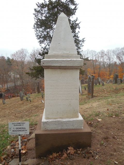 4.1.15 Wadsworth Family Monument, 1816, old Cemetery, Durham, CT. Marble includes commemoration of General James Wadsworth, Continental Congress, 1784.