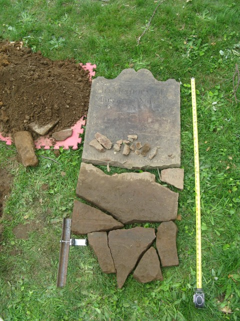 4.1.18 Betts, 1773, red sandstone, St. Paul's Church National Historic Site, MT Vernon, NY.  Dry fit of major fragments.