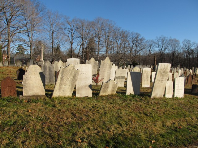 4.1.22 Hillside Cemetery, 1726, Cheshire CT. Overview of selected cleaning with quaternary ammonium cleaning agents without scrubbing stone.