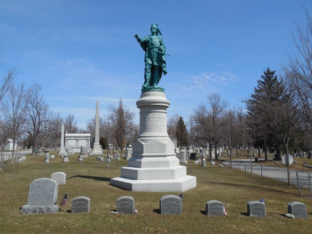 4.1.27 Red Jacket Monument, Hamilton, 1890, Forest Lawn Cemetery, Buffalo, NY.  Overview of monument after conservation treatment.