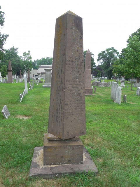 4.1.29.0 Bowles Monument, 1813, Old North Cemetery, Hartford, CT. Unstable brownstone obelisk.