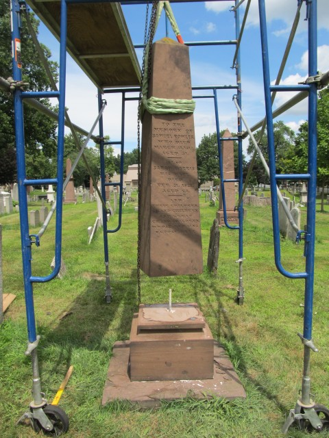 4.1.29.1 Bowles Monument, 1813, Old North Cemetery, Hartford, CT. Resetting brownstone obelisk.