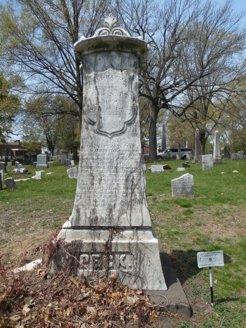 4.1.29.4 Peck Monument, 1863, Old North Cemetery, Hartford, CT. Unstable and soiled monument.