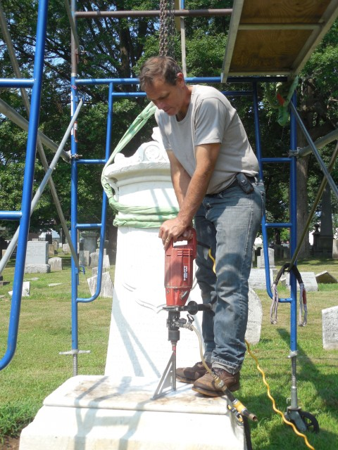 4.1.29.5 Peck Monument, 1863, Old North Cemetery, Hartford, CT. Core drilling for stainless pins.