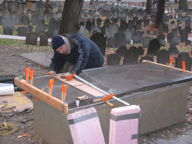 4.1.3 Granary Burying Ground, 18th Century Slate Crypt, Boston MA. Mending fragments on the broken top slab.