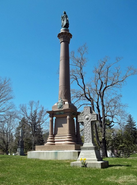 4.1.34 Colt Monument, Randolph Rogers, 1894, Cedar Hill Cemetery. Overview of bronze and stone.