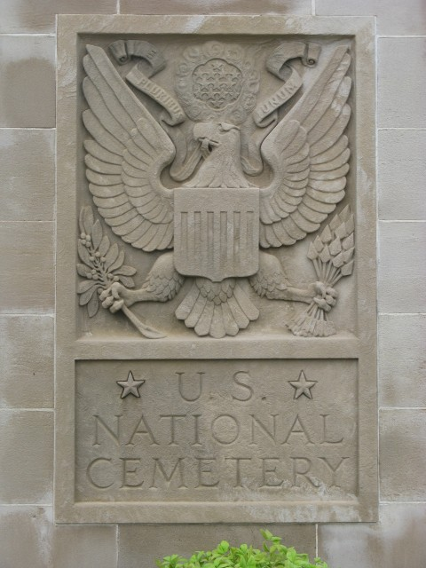 4.1.35 Entry Gate, Fort Smith National Cemetery 1867. Front overview of the relief emblem designating the National Cemetery.