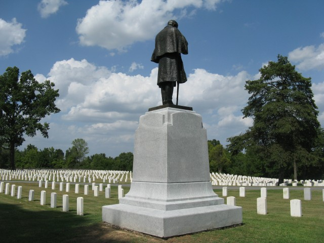 4.1.37 Minnesota  Monument, John Daniels, 1916, Little Rock National Cemetery, AK. Proper right overview of monument after conservation treatment.