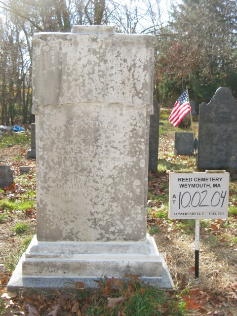4.1.42.4Reed Cemetery, 1769, Weymouth, MA. Monument after treatment.