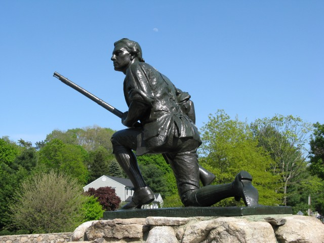 6.1.14 Minute Man, Daniel. A. Webster, 1910, Westport, CT.  Overview of historic bronze cast by Tiffany and Co.