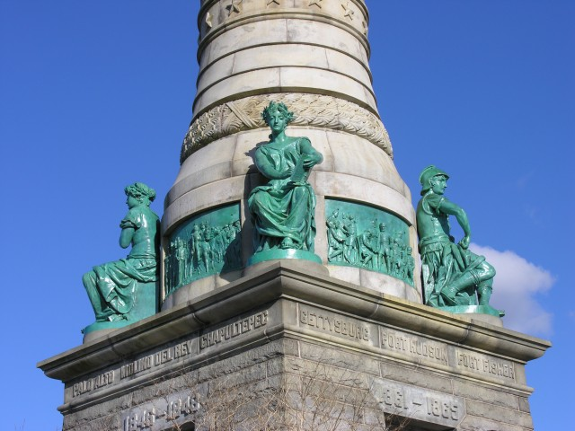 6.1.18 History, Moffit & Doyle, 1887, Soldiers & Sailors Monument, New Haven, CT.  Overview of bronze sculptures on west corner.