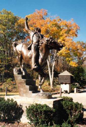 6.1.30 General Israel Putnam, Anna Hyatt Huntington, 1967, Putnam State Park, CT. Front overview of bronze equestrian sculpture.