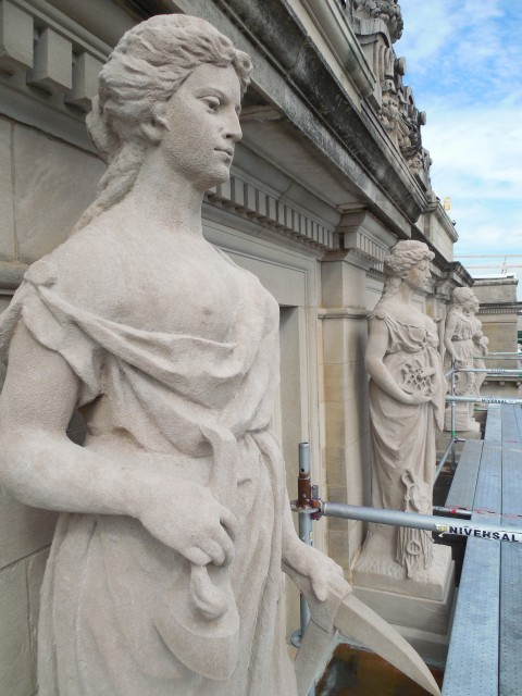 6.1.6  Marston Muses, Marston Hall, 1900, Iowa State University, Ames. Overview of  Indiana Limestone sculptures.