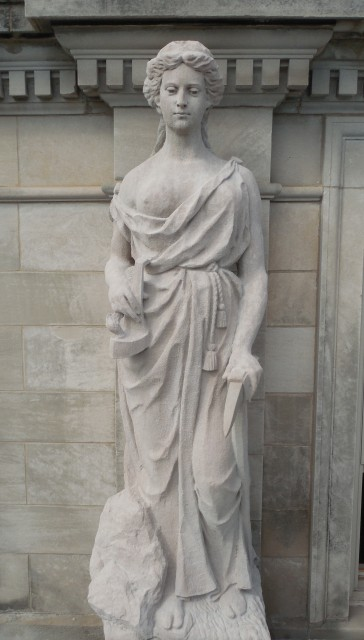 6.1.6  Marston Muses, Mining, Marston Hall, 1900, Iowa State University, Ames. Overview of  Indiana Limestone sculpture.
