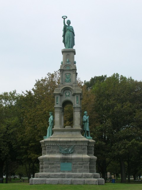 6.2.10. Soldiers and Sailors Monument, Melzar Mosman, 1876, Bridgeport, CT.  Overview of monument and cast replacements after treatment.
