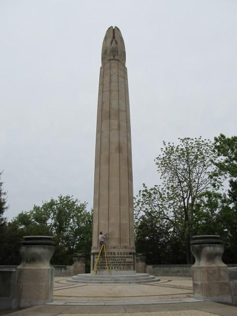 6.2.11. World War Monument, Magongle, Harold Van Buren, 1928, New Britain, CT.  Salt samples and analysis on 90' limestone monument.