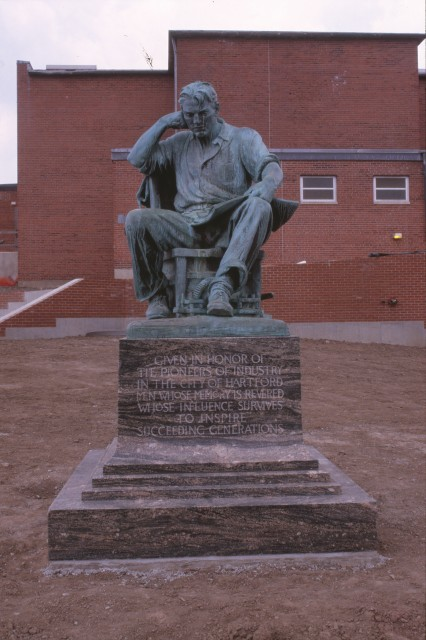 6.2.23 Industry, Evelyn Beatrice Longman, 1931, A. I. Prince Vocational School, Hartford, CT. View of set monument in new location.