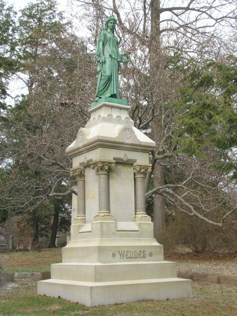 6.2.24 Welles Monument, Charles Conrads, 1873, Cedar Hill Cemetery, Hartford, CT.  Front overview of the monument after treatment.
