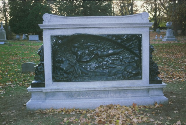 6.2.26 Horace Wells Monument, Louis Potter, 1909, Cedar Hill Cemetery, CT.  Overview of monument after treatment.