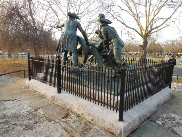 6.2.35 Defendants of New Haven, 1911, New Haven, CT. Overview of restored iron fence and bronze sculpture.