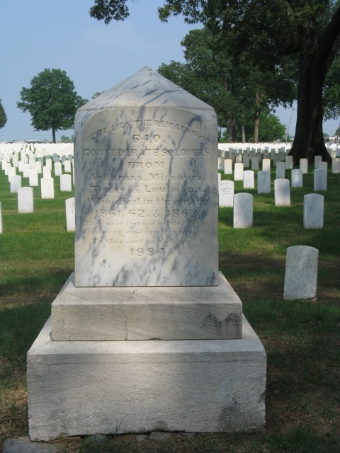 6.2.5. Confederate Monument, 1884, Little Rock National Cemetery-Front overview of marble memorializing 640 Confederate dead buried at the site.