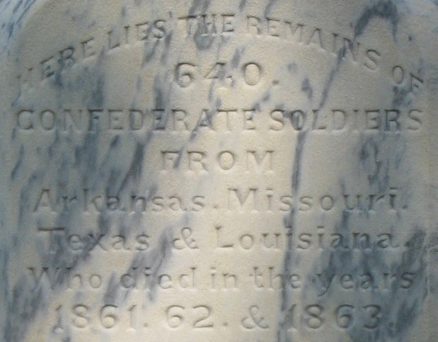 6.2.5.5 Confederate Monument, 1884, Little Rock National Cemetery. Front detail of marble memorializing 640 Confederate dead buried at the site.