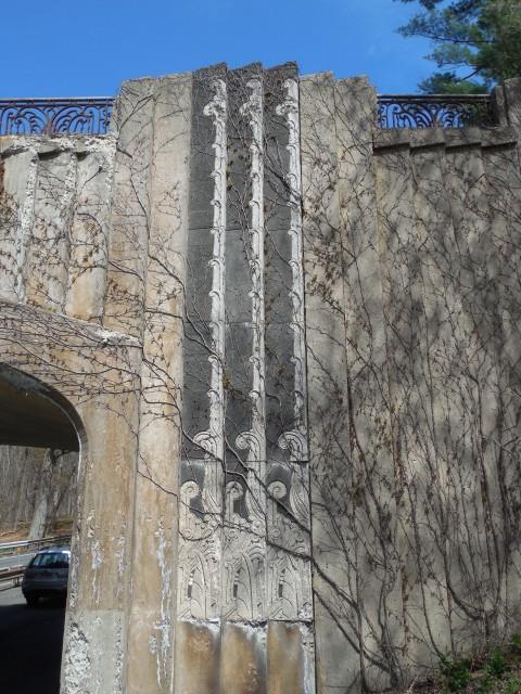 6.6.15  North Avenue Bridge, 1939, Merritt Parkway, CT. View of the cast stone ornamentation on historic bridge.
