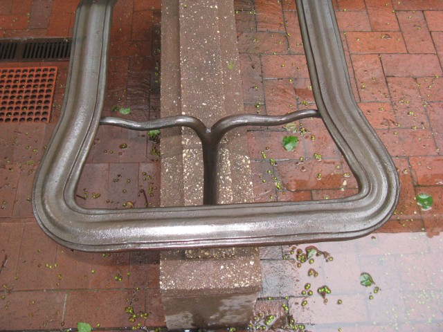 6.6.19 Iron Rail, Gracie Mansion, 1799-1966, New York, NY. Detail of iron end rail after conservation treatment.