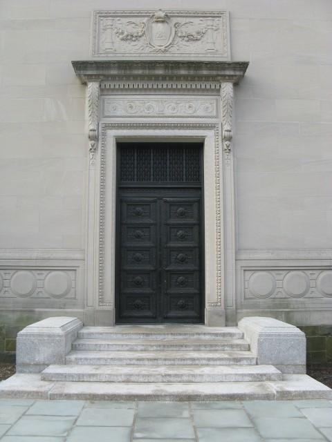 6.6.9 Berzelius Secrete Society Bronze Doors, Donn Barber, 1908, New Haven, CT.  Overview of bronze after conservation treatment.