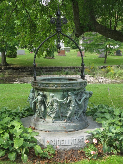 6.7.6 Schoellkopf Memorial Well, French, Forest Lawn Cemetery, Buffalo, NY.  Overview of bronze well during assessment.