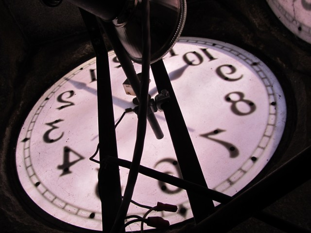 6.7.9 Clock Tower on the Green, Waterbury, CT.  View of upper, interior clock faces and mechanisms.