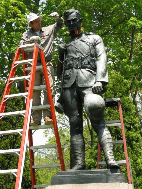 7.1.11 Doughboy,  J. Clinton Shepard, 1908, Westport, CT. Bronze figure during cyclical maintenance
