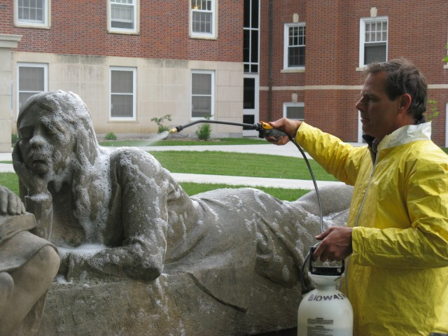 7.1.3 Conversations, Christian Petersen, 1947-1952, University Museums, Iowa State University, Ames. Cleaning limestone sculpture groups  of biological growth.