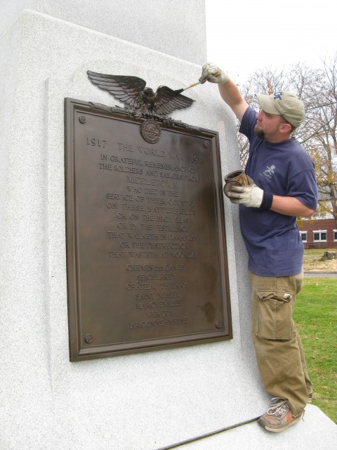7.1.4 Plaque, Middletown, CT. conservation maintenance of the bronze relief.