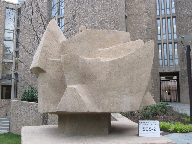9.1.12 Costantino Nivola, 1962, Stiles College, Yale University. Cast stone sculpture after treatment.