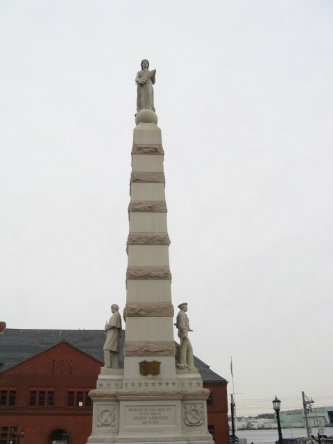 1.6.1 Soldiers and Sailors Monument, Moffit and Doyle, 1896, New London, CT.  Overview of the 50' monument.
