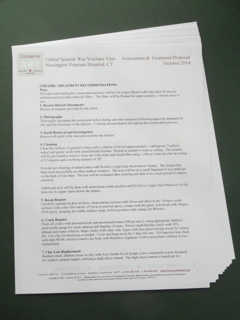 1.6.14 United Spanish  War Veterans Vase Treatment Proposal -Treatment Recommendations.